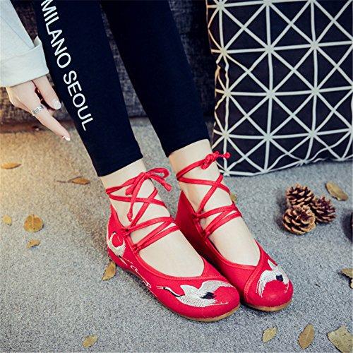 Red Zapatos Suelas Msfs Pisos De A Alpargatas Bordadas Correas Lona Mujeres Blandas Cu Cordones TYIO6