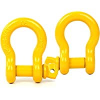 """8milelake 3/4"""" (2 Pack) D-Ring Shackle, 4 3/4 tons WLL (9,500 Lbs), Heavy Duty Galvanized D Ring for Jeep Vehicle Recovery (Yellow)"""