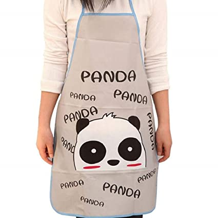 SYGA Cute PVC Panda Waterproof Kitchen Apron for Women or Children -Set of 1Pc