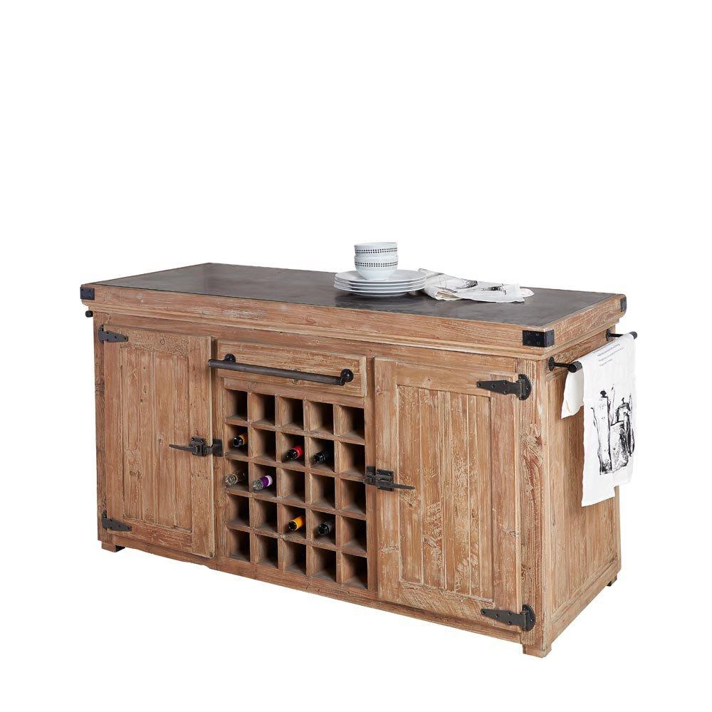 Kücheninsel Pinie recycelt Steinplatte schwarz 165x91x85-92cm ...