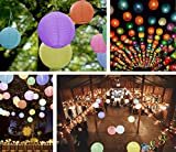Round Paper Lantern Lamps: 8-Pack - 12' Round Multi-Colored Lanterns   16-Pack Premium White Mini-LED Lights   Perfect for Indoor & Outdoor Parties, Events, & Ambiance
