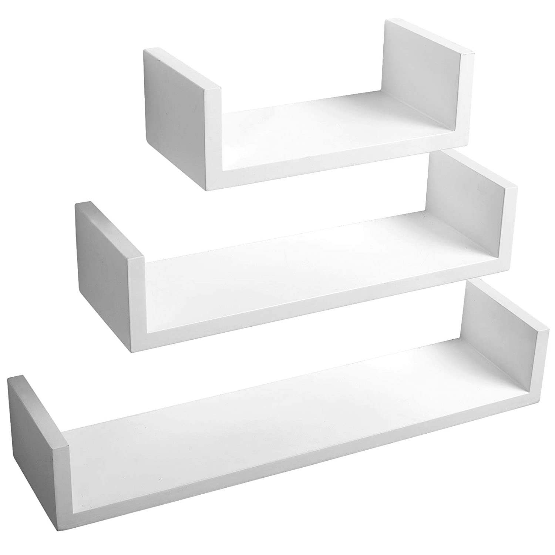 Woltu RG9239ws Estante de Pared para Libros CDs Estante Flotante de 3 Piezas Blanco