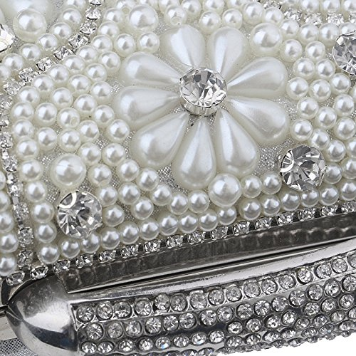Evening Handbags With Rhinestones Women Messenger Clutches TuTu Bag Handle For Shoulder Wedding Chain Bags Day Beaded silver TS55Kwfqg