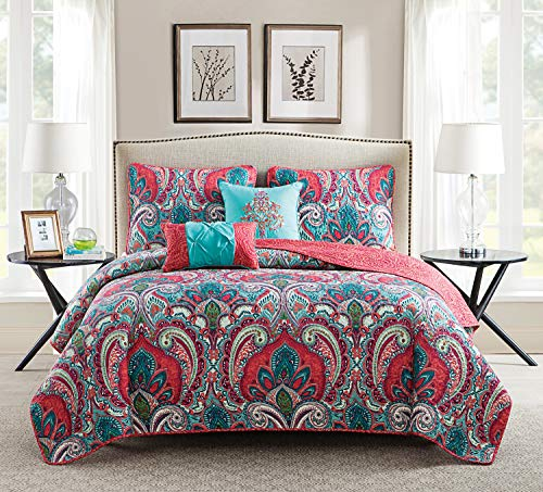 VCNY Home Victoria Classics Casa Re`al Quilt Set, Full/Queen, Multi (Quilt Sets Queen)