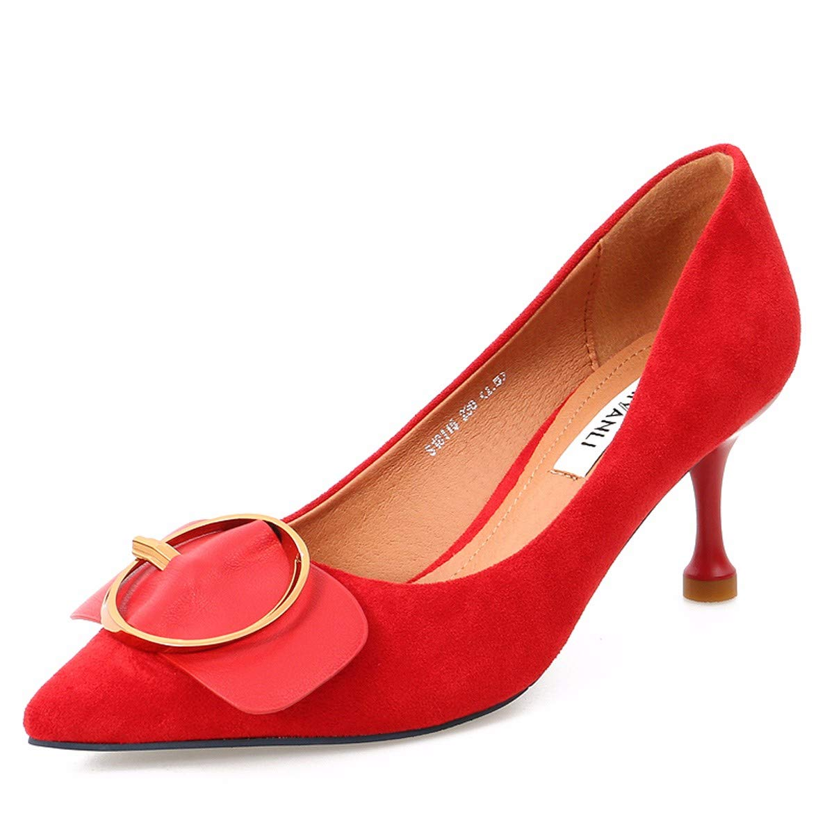 SFSYDDY-Summer Fashion Fine with Sharp Pointed Velvet Belt Buckle Shallow Mouth Commuting 7Cm High Heel Women's Shoes Wedding Shoes.Thirty-Four Black