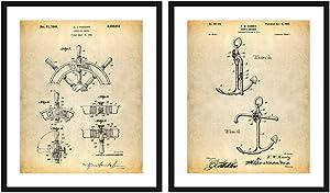 Bestbuddy Pet 8X10 Unframed Ship Steering Ship Anchor Wheel Patent Poster Set of 2 Nautical Decor Ship Wheel Nautical Wall Art Boat Décor N048
