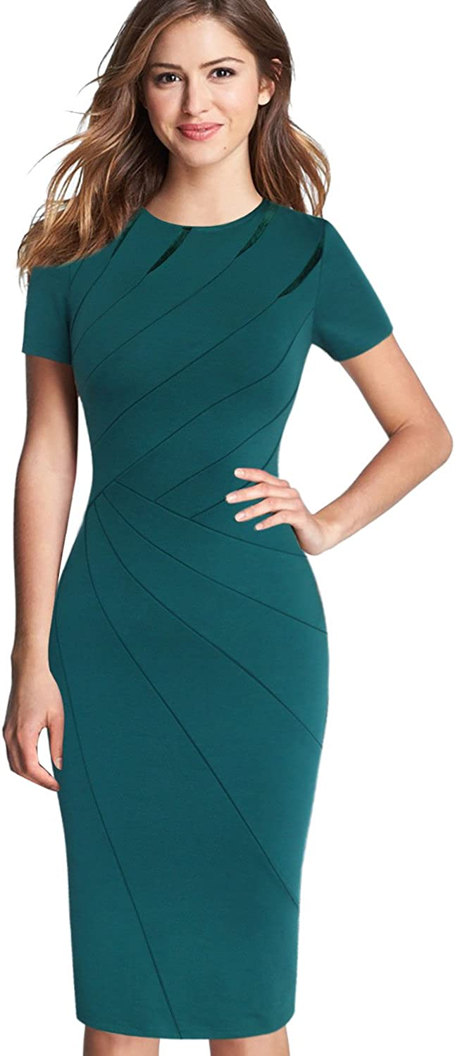 VFSHOW Womens Elegant Crew Neck Patchwork Work Business Office Sheath Dress
