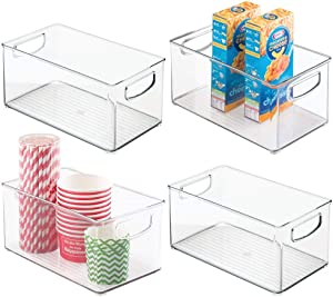 mDesign Plastic Kitchen Pantry Cabinet, Refrigerator or Freezer Food Storage Bins with Handles - Organizer for Fruit, Yogurt, Snacks, Pasta - Food Safe, BPA Free - 4 Pack - Clear