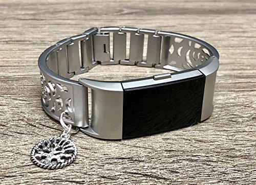 Matte Silver Bracelet For Fitbit Charge 2 Tracker Handmade Jewelry for Fitbit Charge 2 Band Adjustable Silver Vintage Tree Of Life Brushed Silver Jewelry Bracelet for Your Fitbit Tracker