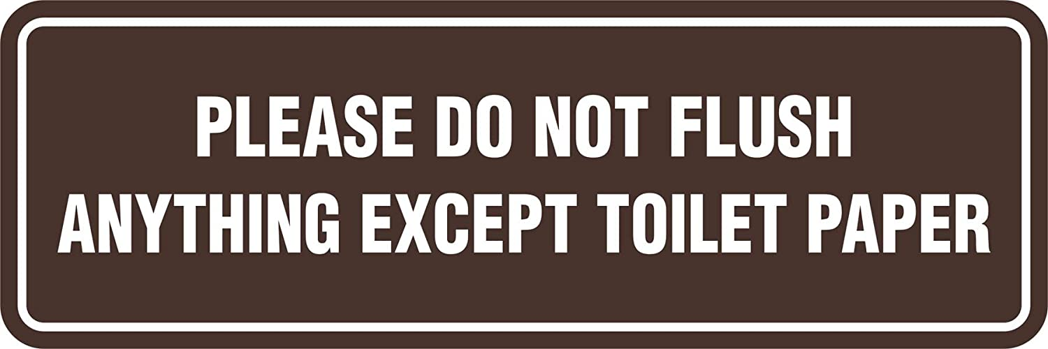 Large Signs ByLITA Standard Please Do Not Flush Except Toilet Paper Sign Brushed Silver