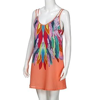 Hot Sale!Short Dress,Women Summer Beach Sleeveless Mini Sling Dresses Floral Feather Pattern Small Dresses