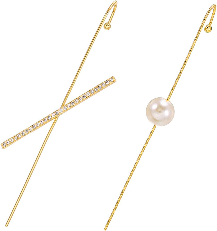 14K Gold Ear Wrap Crawler Hook Earrings for Women Ear Cuffs Piercing Earrings Set