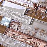Hominter 5-Sheets Brown and Rose Gold Glass Tile Backsplash, Silver Crystal Rhinestone Mosaics, Kitchen and Bathroom Wall Tiles KS183
