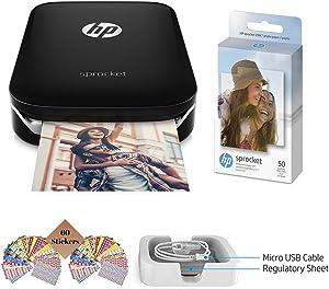 TUDAK HP Sprocket Photo Printer, Print Social Media Photos on 2x3 Sticky-Backed Paper (Black) + Photo Paper (50 Sheets) + USB Cable + 60 Decorative Stick-On Border Frames