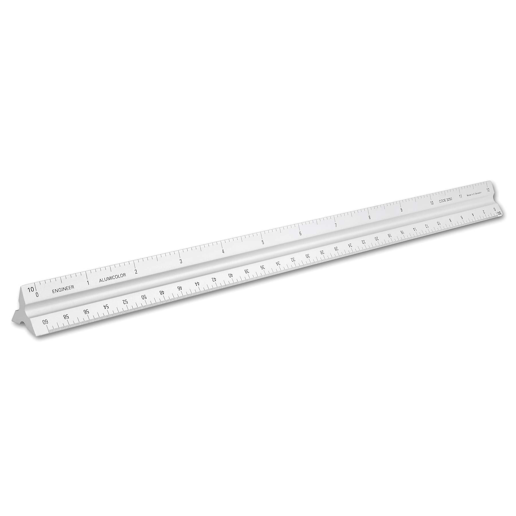 Alumicolor 3250-1 Aluminum Engineer Solid Drafting Scale, 12IN, Silver by Alumicolor
