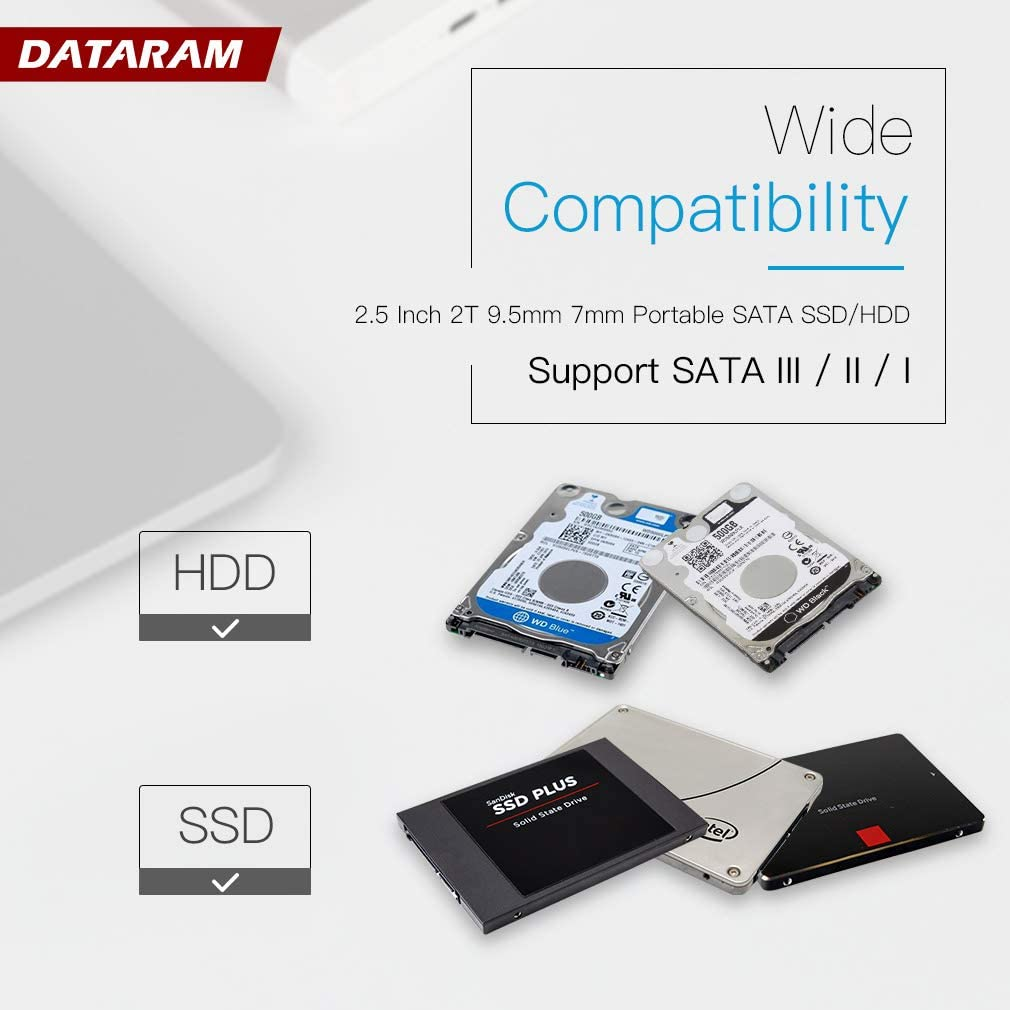 Clear- Type Dataram Type C External Hard Drive Enclosure Casing for 2.5 inch 7mm//9.5mm SATA HDD SSD Support UASP SATA III Max 2T