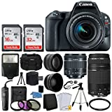 Canon EOS Rebel SL2 Digital SLR Camera + EF-S 18-55mm IS STM Lens + EF 75-300mm III Autofocus Lens + 48GB Memory Card + Photo4Less DC59 Gadget Bag + UV Filter Kit + Tripod – Top Value Accessory Bundle