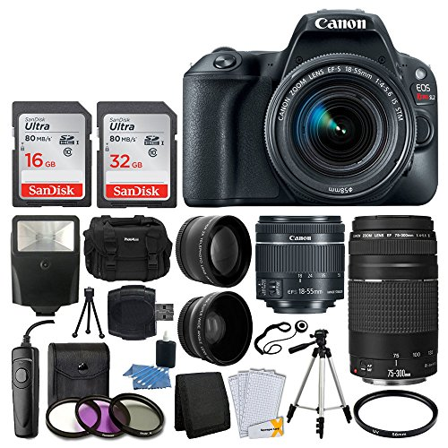 Canon EOS Rebel SL2 Digital SLR Camera + EF-S 18-55mm IS STM Lens + EF 75-300mm III Autofocus Lens + 48GB Memory Card + Photo4Less DC59 Gadget Bag + UV Filter Kit + Tripod – Top Value Accessory Bundle Review