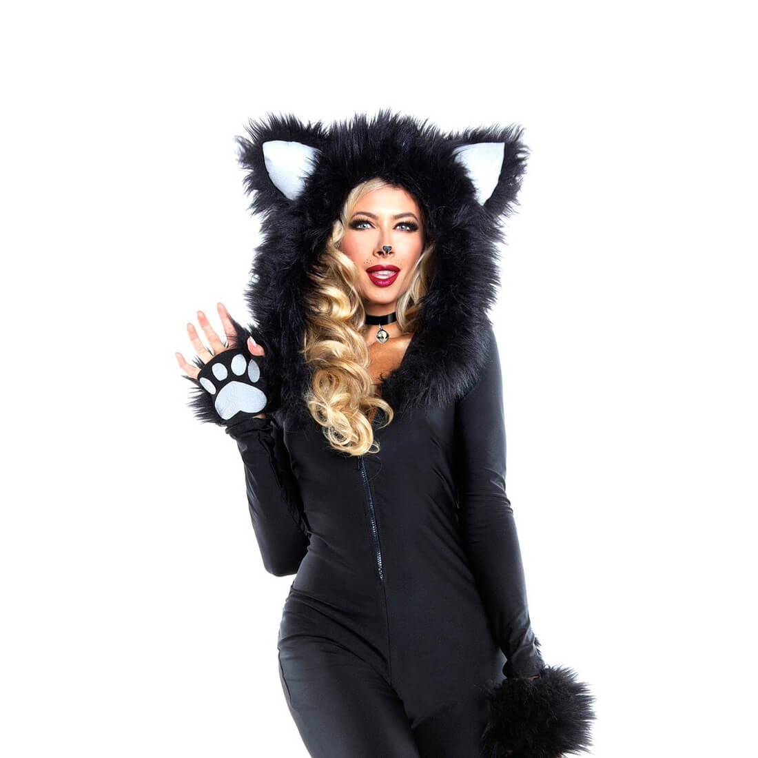 Halloween Hairy Deluxe Wolf Ladies Sexy Catwoman Animal Catsuit