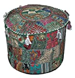 Khambadiya Patchwork Bean Bag Round Ottoman Pouf Asian Art Pouffe Cover Mix