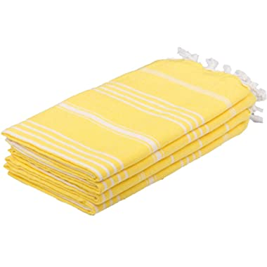 Set of 4 Turkish Hand Towels 100% Cotton 20 x 40 inc (Bright Yellow) Decorative and Portable for Bathroom, Kitchen, Fitness