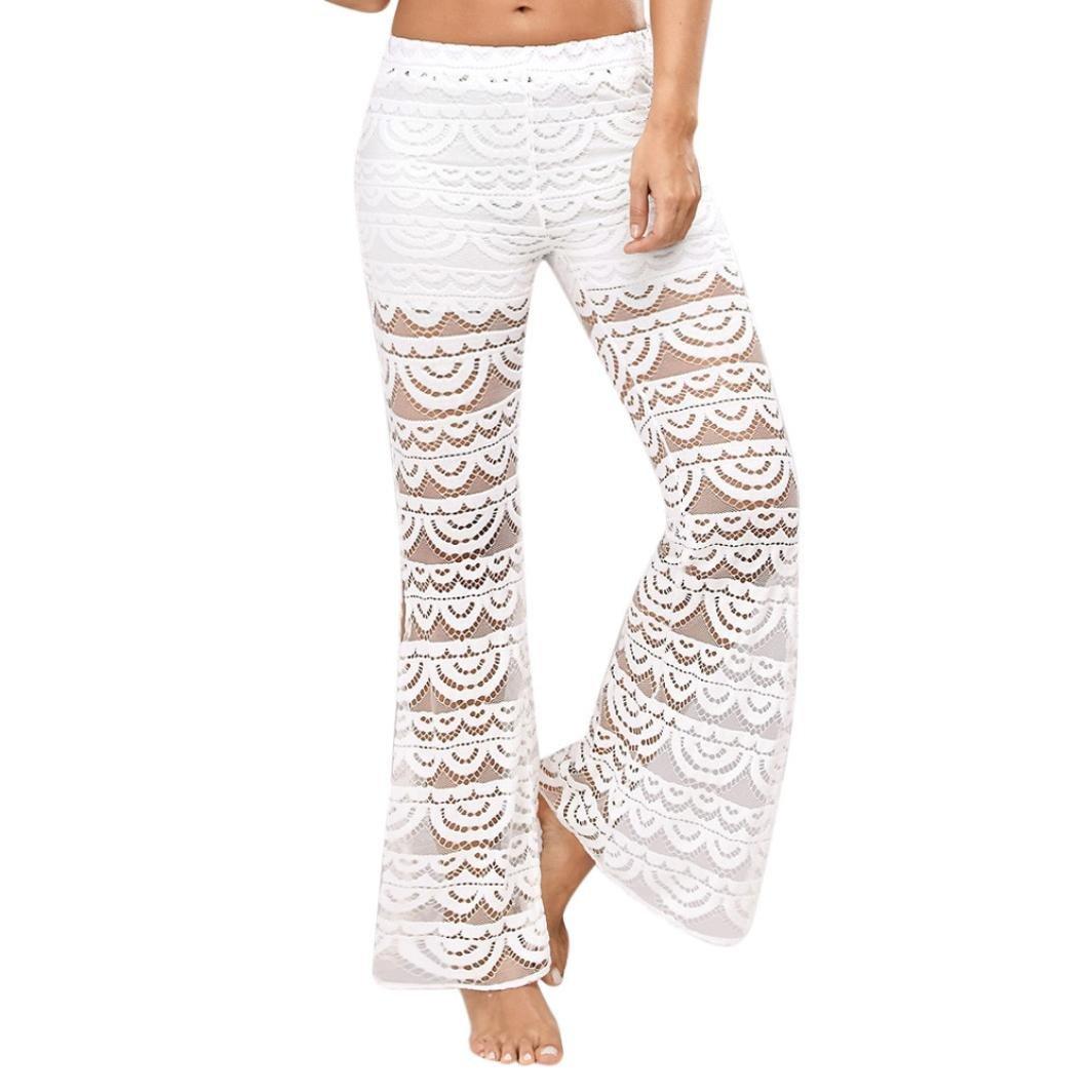 moonuy Casual Femmes Dentelle élégant évasés Taille Pantalon Yoga Longue Pantalon Couture Fendu Simple Pantalon Large Jeans Jambe Lache Personnalité Lace à la Mode Pants