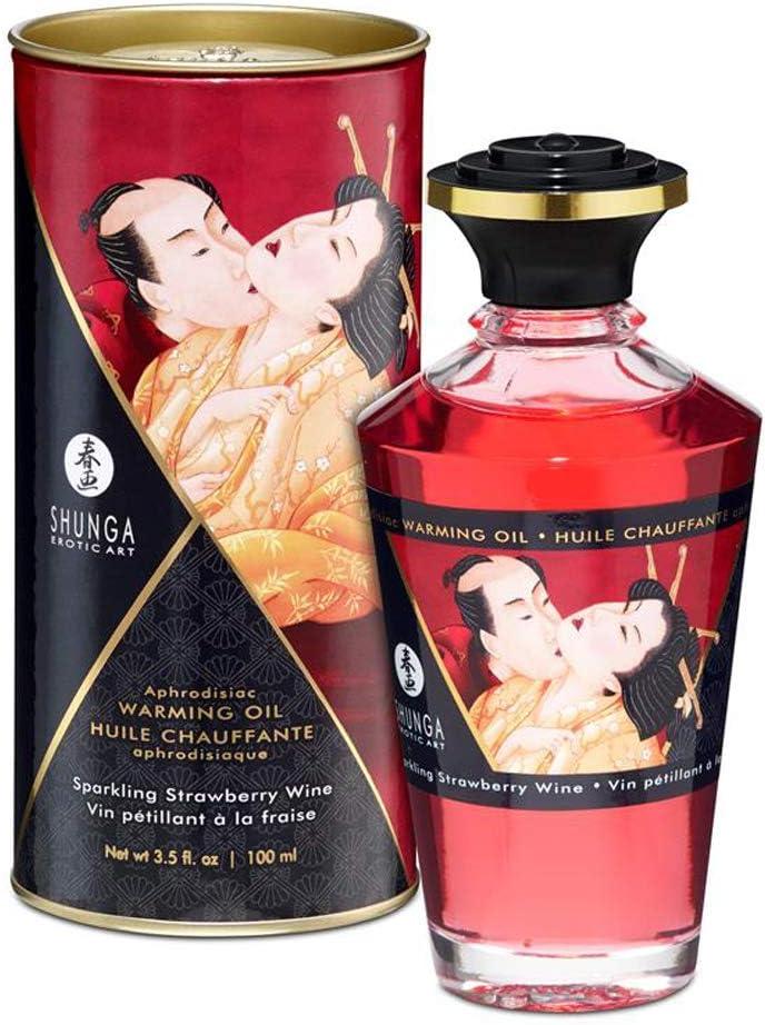 Aceite de Masaje Afrodisíaco Efecto Calor de Cava y Fresas 100 ml. - Shunga