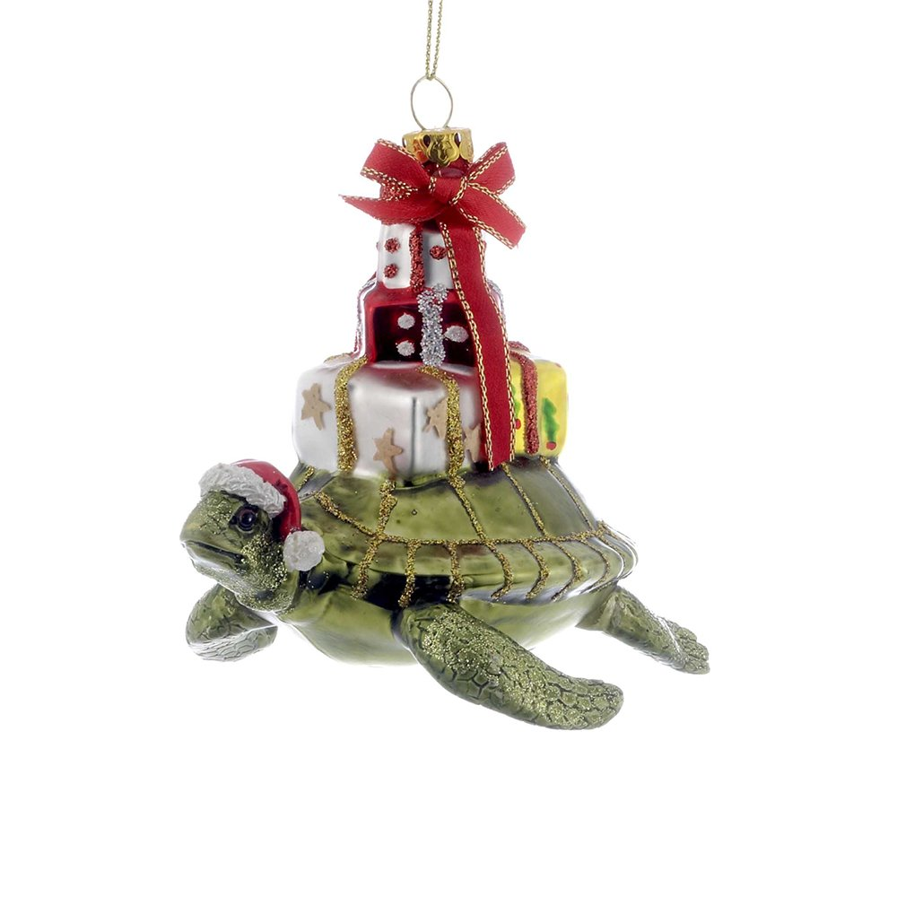 "Kurt Adler 4"" Glass Turtle with Gift Ornament"