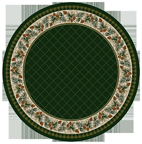 KENSINGTON ROW LAKE AND LODGE COLLECTION AREA RUGS - PINE CREEK RUG - 8' ROUND - PINE CONE BORDER - Pinecone Rug Area Round 8'