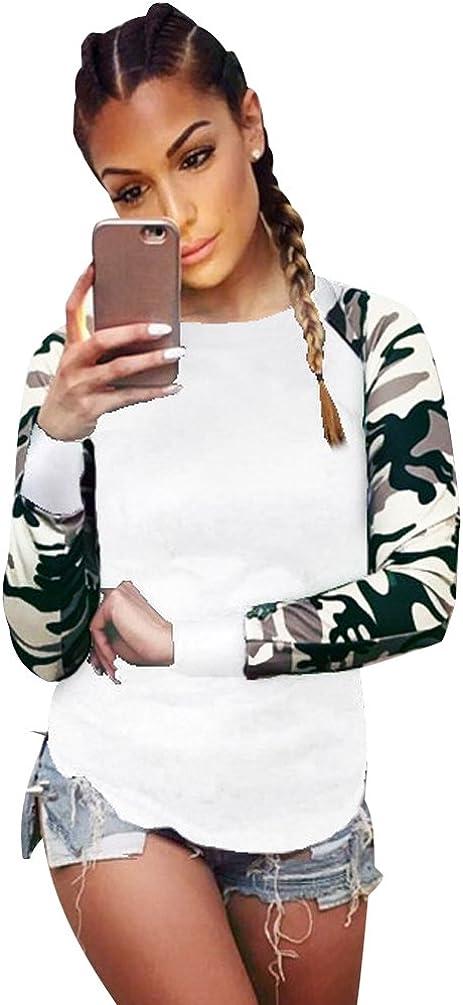 ISSHE Camisetas Cuello Redondo Manga Larga Mujer Camiseta Interior para Dama Camisas Estampadas Camisa Camuflaje Top Chica Blusas Bonitas Señora Remera Remera de Manga Larga Blusones Sudaderas: Amazon.es: Ropa y accesorios