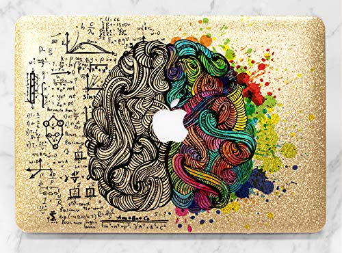 Brain Science Art Design Gold Rose Gold Hard Plastic Glitter Case Cover For Apple Macbook Air 11 13 Macbook 12 Macbook Pro 13 15 Inch 2016 2017 2018 With Retina Display Touch Bar