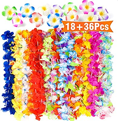 FEPITO 36 pcs Hawaiian Tropical Hula Flower Leis Collares con 18 ...