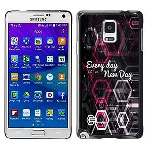 PC/Aluminum Funda Carcasa protectora para Samsung Galaxy Note 4 SM-N910F SM-N910K SM-N910C SM-N910W8 SM-N910U SM-N910 BIBLE Every Day Is A New Day / JUSTGO PHONE PROTECTOR