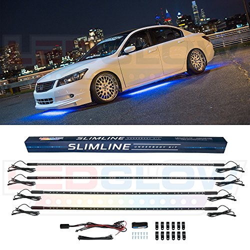LEDGlow 4pc Blue Slimline LED Underbody Underglow Accent Neon Lighting Kit for Cars - Solid Color Illumination - Water Resistant, Low Profile Tubes - Included Power Switch Turns Lights On & Off