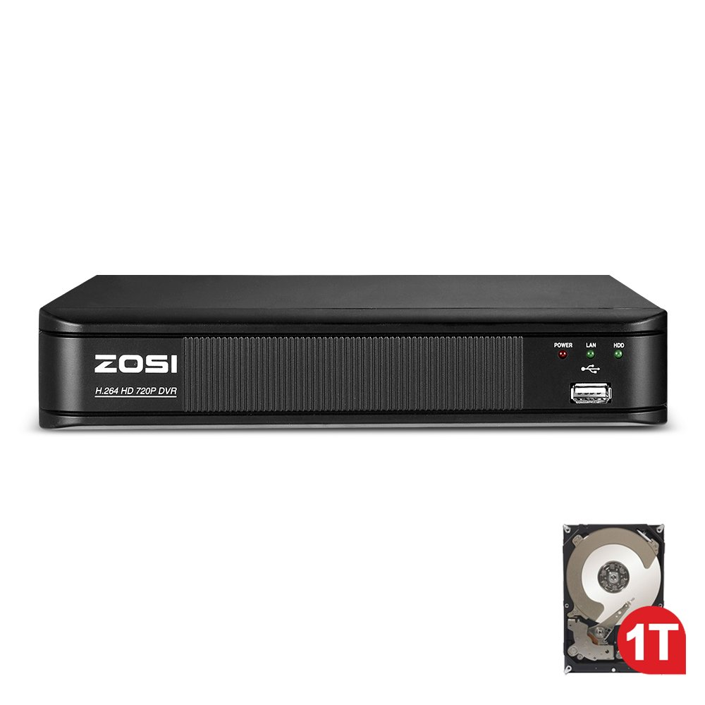 ZOSI 720p 8 Channel HD-TVI 1080P Lite 4 in 1 Video Surveillance DVR Recorder with Hard Drive Built-in, P2P Technology, QR Code Scan Remote Access,Motion Detection