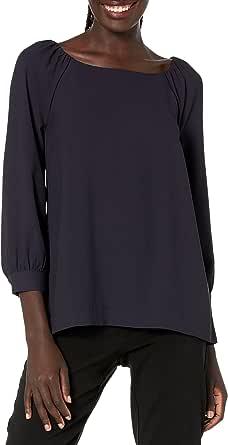 Lark & Ro Amazon Brand Women's Three Quarter Sleeve Crew Neck Gathered Blouse