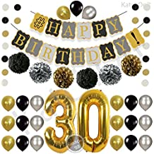 Vintage 30th BIRTHDAY DECORATIONS PARTY KIT -Black Gold and Silver Paper PomPoms| Latex Balloons | Gold Number 30 Ballon | Circle Garland | 30th Birthday Balloons |30 Years Old Birthday Party Supplies