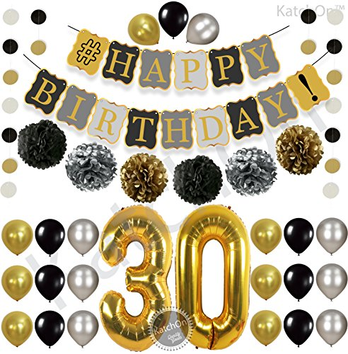 Vintage 30th BIRTHDAY DECORATIONS PARTY KIT -Black Gold and Silver Paper PomPoms| Latex Balloons | Gold Number 30 Ballon | Circle Garland | 30th Birthday Balloons |30 Years Old Birthday - Vintage Balloons Party