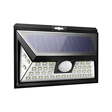 Solar Lights Outdoor Sun Powered Wall Lights Porch Lights Patio Lights 40 LED Lights Waterproof with Motion Sensor 270 Degrees Wide Angle for Garden, Garage, Deck, Yard 1 Pack