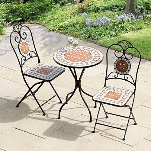 (Diamond Mosaic Tiles Patio Bistro Set with Cast Iron Frame Material and Matte Black Finish)