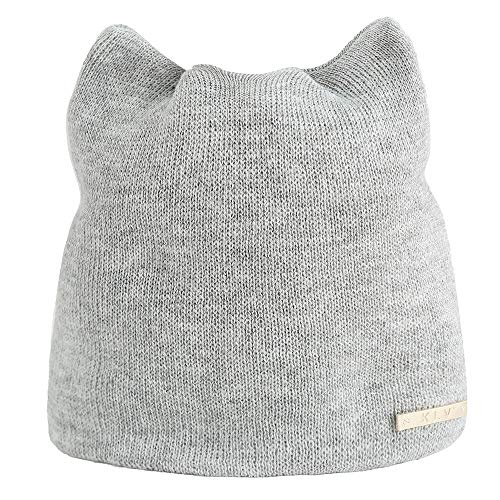 Botrong Women Autumn Winter Beanie Hat Warm Cat Hats Earmuffs Russian Caps (Gray)
