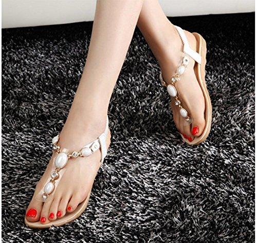 mit Damen Absatz Sandalen T Dayiss Sommer Weiß Straß Strap Auslaufrabatt Sandaletten gERqORxw7