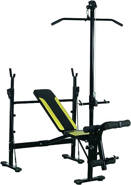 HOMCOM Banco de Pesas Ejercicios de Musculación 175x110x202cm Fitness con Respaldo Regulable Polea Alta Cuerda Color Negro: Amazon.es: Deportes y aire libre