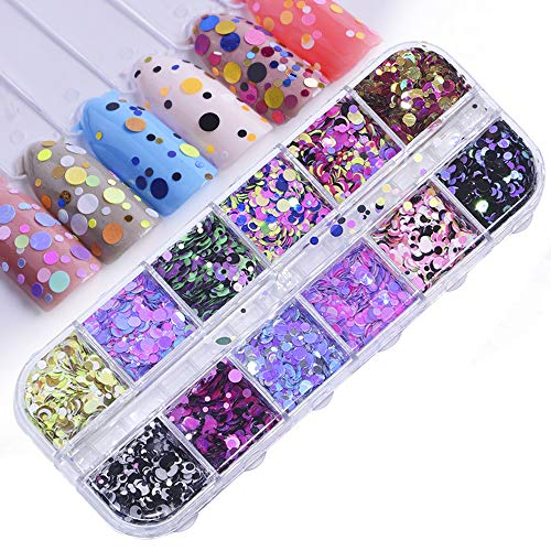 (12 Grids/Sets Nail Glitter Sequin Paillette Mixed Round Thin Shining Flake Nail Art Decorations DIY Sequins Jewelry for Nail Make Up )
