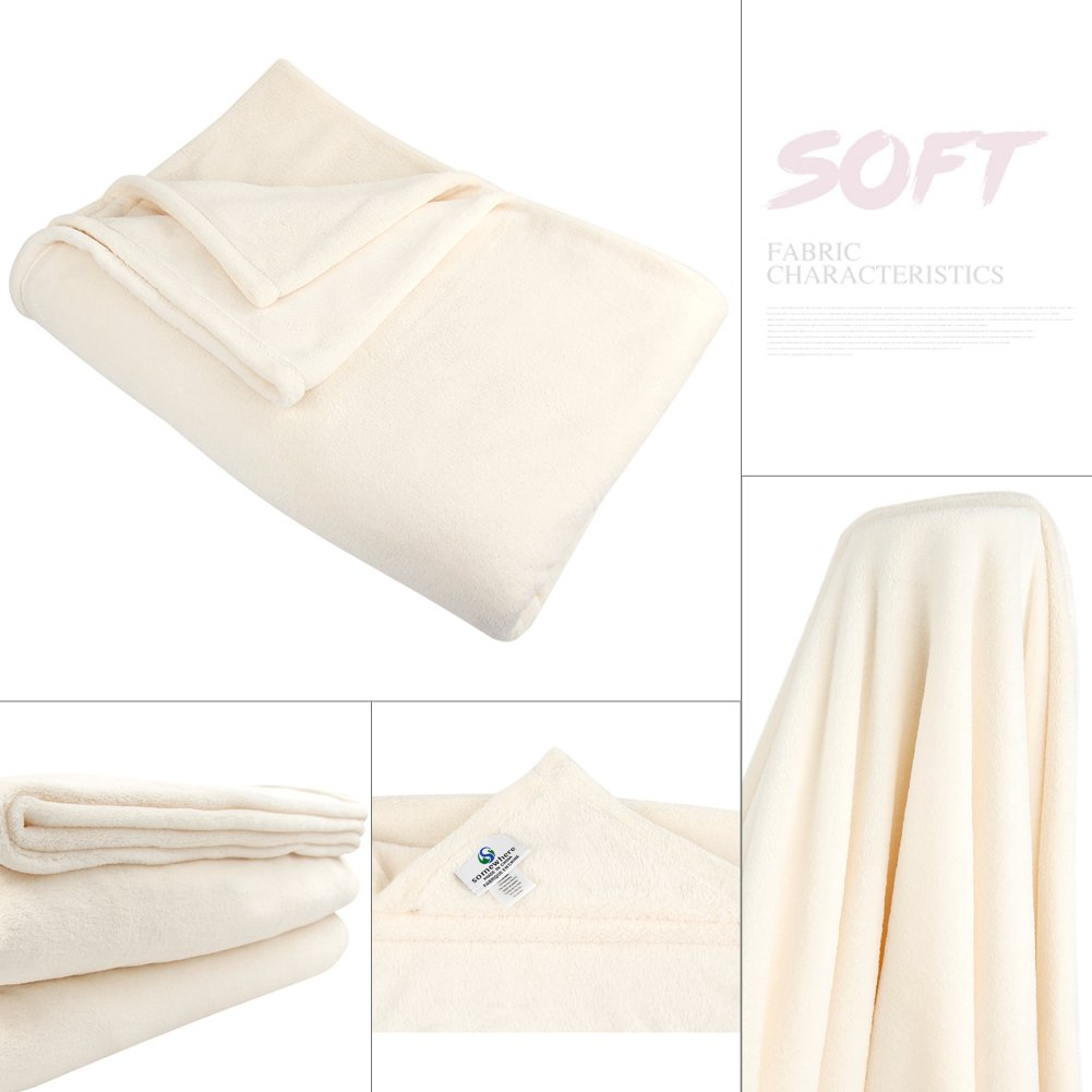 The Sweet Gifts to Your Family and Friends Collection Breathable Softer Fluffier Warm Coral Velvet Throw Blanket Packed with Bowknot Somewhere Coral Fleece Blankets -Twin,Cream
