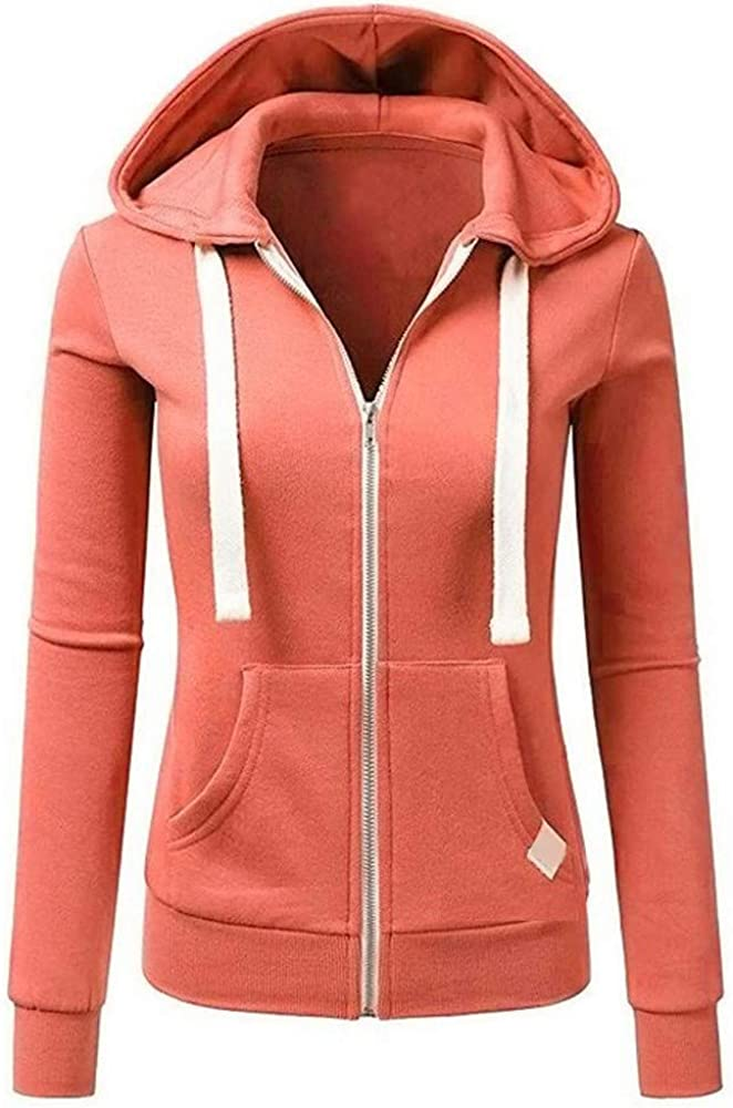 Miuye yuren Winter Womens Ladies Long Sleeve Solid Color Hooded Zipper Jacket Sweatshirts Womans Fashion Hoodies