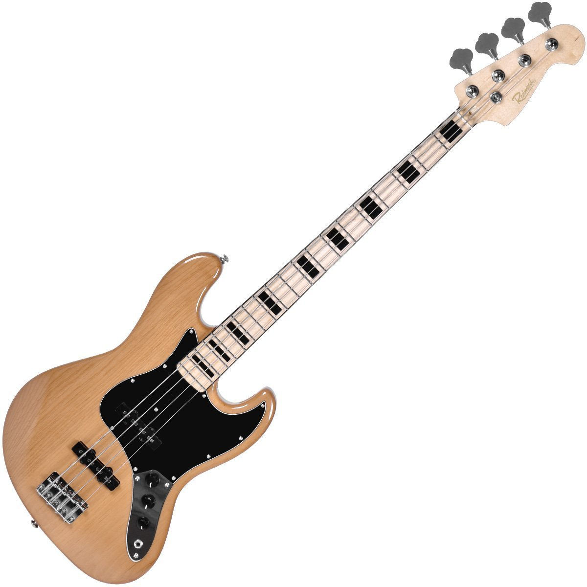 Redwood JB2 Electric Bass Guitar with Jazz Style Alder Body - Natural JB1