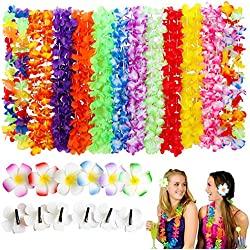 Tropical Hawaiian Luau Flower Lei - SPIEL 36 Pack, 24 pcs Hawaiian Leis Ruffled Flowers Necklaces and 12 pcs Hair Clip for Theme Party Favors Decorations Supplies