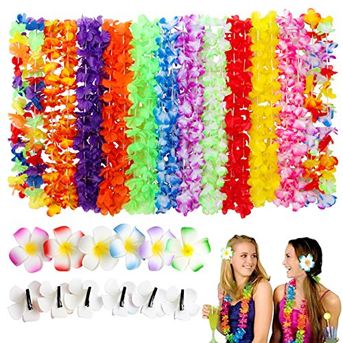 Tropical Hawaiian Luau Flower Lei - SPIEL 36 Pack, 24 pcs Hawaiian Leis Ruffled Flowers Necklaces and 12 pcs Hair Clip for Theme Party Favors Decorations -