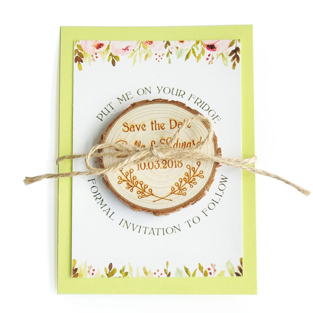 ZXB JEWELRY Personalized Wedding Wood Save the date Magnets,Rustic Wedding Magnets,Rustic Wedding Favors (50)